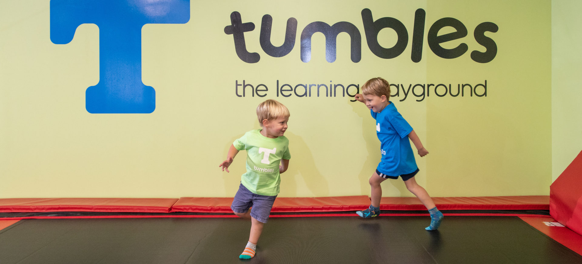 Kids running on trampoline at Tumbles