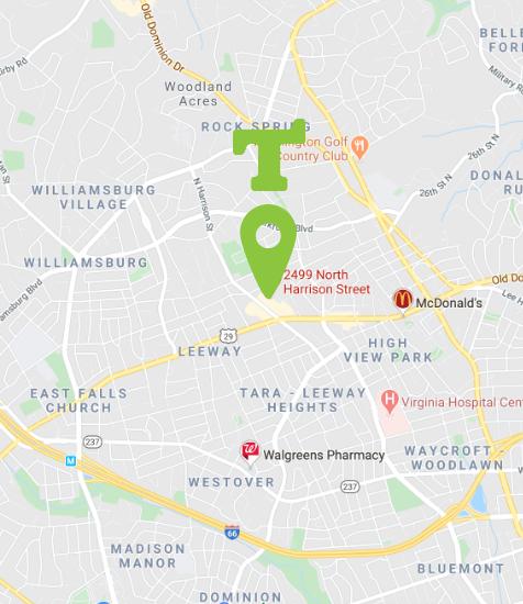 Location map of Tumbles Arlington