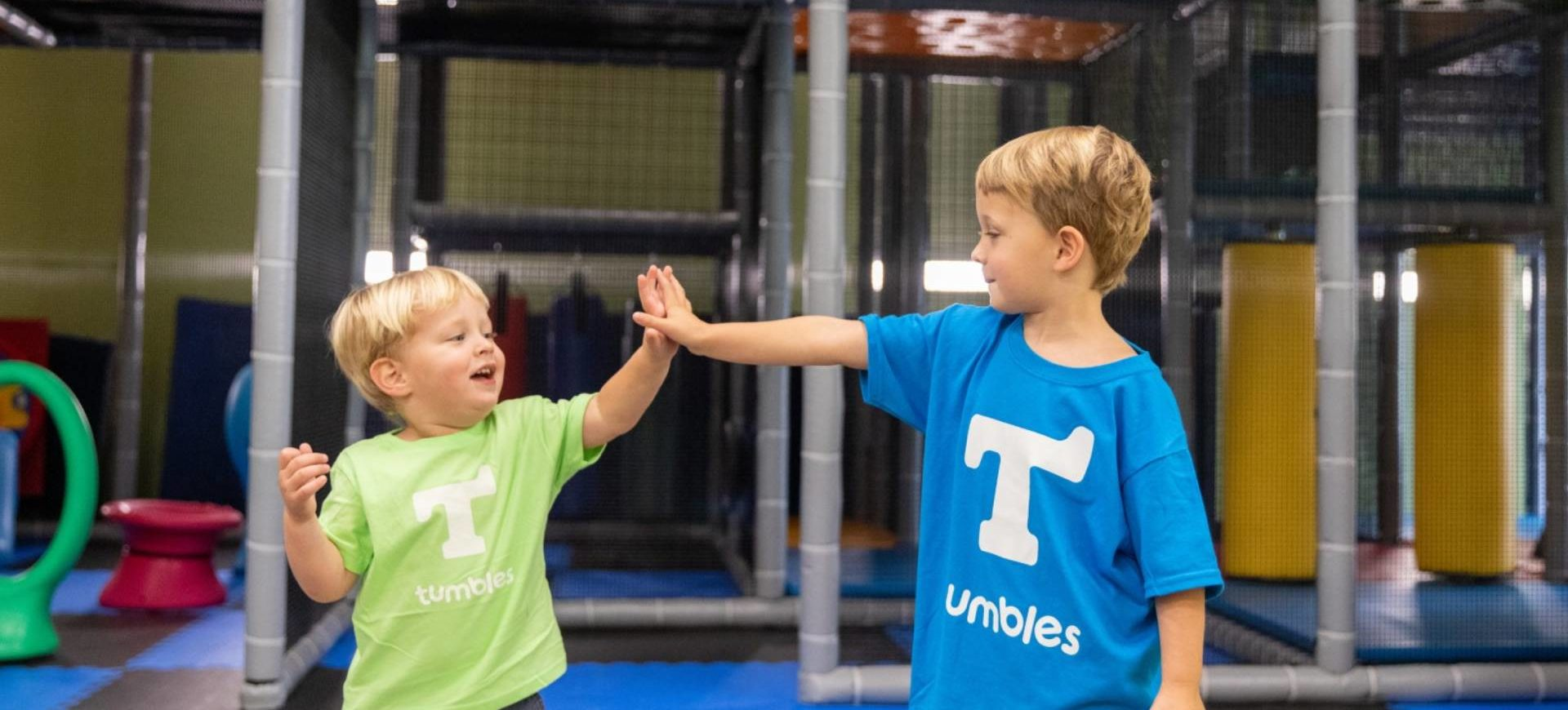 Excited kids at Tumbles high 5