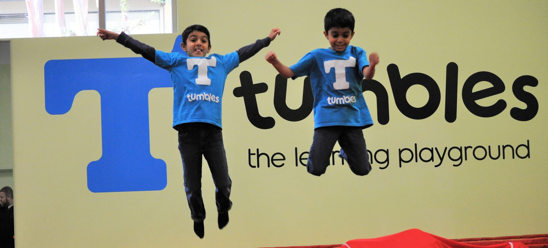 Shaan and Sahel jumping at Tumbles